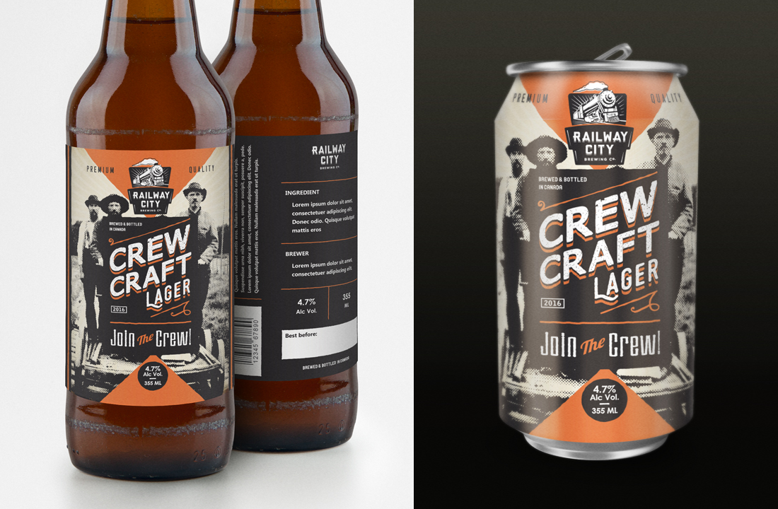 Bold Playful Brewery Label Design For Railway City Brewing Company