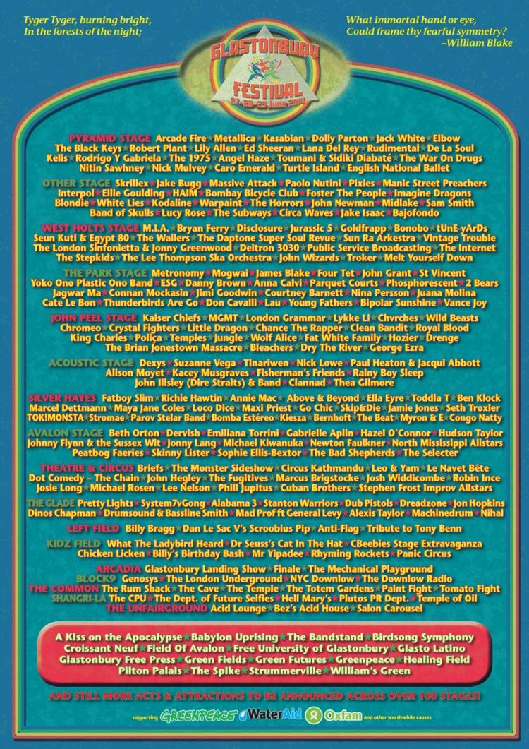 Poster design 2014 - Glastonbury Festival 2014 Poster Design